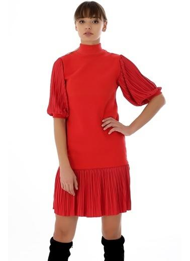 Emjey Kolları Balon Eteği Piliseli Hakim Yaka Özel Tasarım Elbise Kırmızı